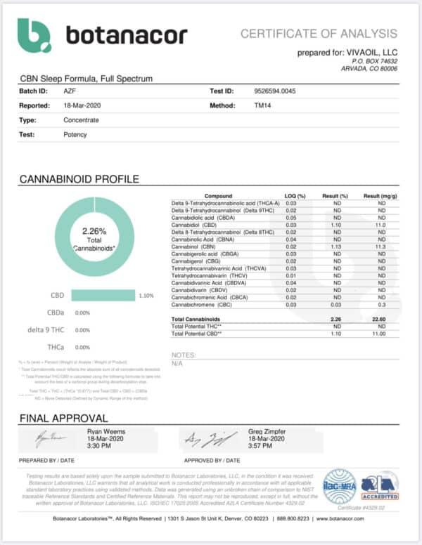 600mg CBN Oil Sleep Aid Formula