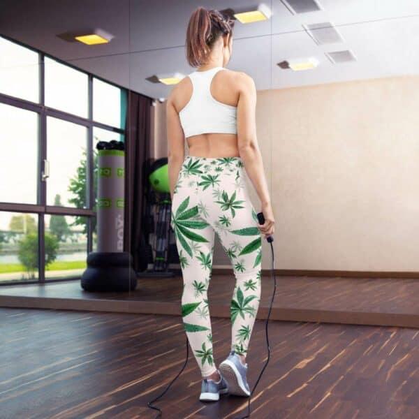Light Pink Cannabis Print Yoga Leggings