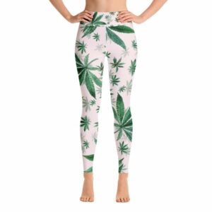 Light Pink Cannabis Print Yoga Leggings